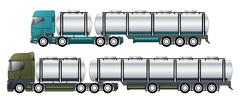 Commercial tankers with dromedary tractors - stock illustration