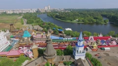 Architectural complex of entertainment center Kremlin on shore Stock Footage