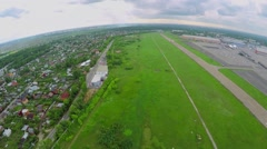 Village not far from former airport Bukovo with large terminals Stock Footage