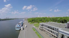 Vessel moored near edifice of river station Volga-Moscow Stock Footage