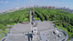 Stock Video Footage of Tower with star on steeple of river station Volga-Moscow