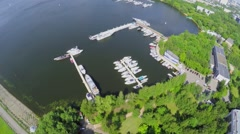 Lot of yachts on moored in city river bay near Himkinskaja dam Stock Footage