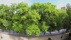Park with Patriarshy pond among plants and dwelling houses Stock Footage