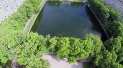 Trees around Patriarshy pond in park at summer sunny day Stock Footage