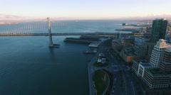 4K Aerial drone shot San Francisco embarcadero bay bridge ocean sunset Arkistovideo