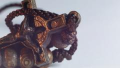 Close up of a rosary with crucifix and cords Stock Footage