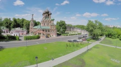 Edifice of Trinity Church in Ostankino at summer sunny day Stock Footage
