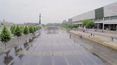 Dry fountain on quay with people and Tretyakov Art Gallery Stock Footage