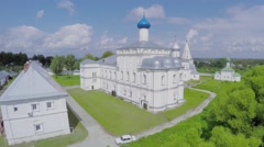 Saint Trinity Danilov cloister at summer sunny day. Aerial view - stock footage
