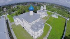 Saint Trinity Danilov cloister near pond and village at summer - stock footage