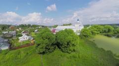 Village and pond near Saint Trinity Danilov cloister at summer - stock footage