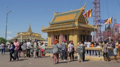 Busy scene at Dorngkeur Shrine,Phnom Penh,Cambodia Stock Footage
