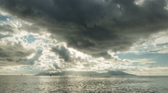 Beautiful sunset with clouds in Tahiti, French Polynesia - stock footage