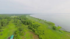 Plants on shore of Plesheevo lake at summer day. Aerial view Stock Footage