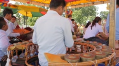 Khong wong yai being played at Dorngkeur Shrine,Phnom Penh,Cambodia Stock Footage