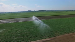 Pouring of farm field at summer sunny day. Aerial view Stock Footage