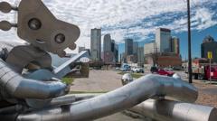 Dallas skyline slider time-lapse w/ guitarMan Statue - nice cloud movement Stock Footage