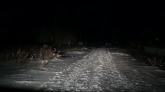 The car will go on the road at night in winter. people go front view  Stock Footage