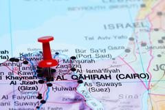 Cairo pinned on a map of Africa - stock photo
