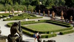 View of large historical garden before chateau Troja - visitors walk  Stock Footage