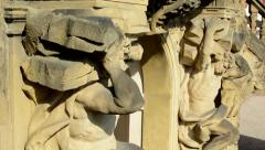 Detail of the statue on the entrance of chateau Troja - sunny day Stock Footage