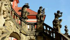 View of the stairs with statuary on the entrance of chateau Troja - sunny day Stock Footage