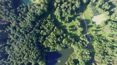 Two car among trees near small lake at summer sunny day Stock Footage