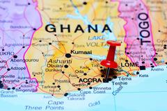 Accra pinned on a map of Africa - stock photo