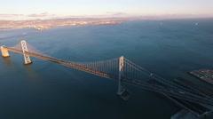 4K Aerial drone shot San Francisco embarcadero bay bridge traffic sunset Arkistovideo