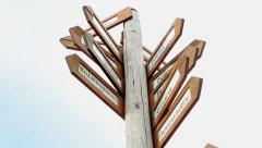 view of the wooden guidepost - look at the sky - stock footage