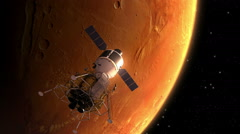 Interplanetary Space Station Orbiting Mars - stock footage