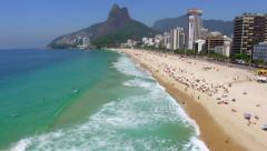 Aerial View of Ipanema Beach in Rio de Janeiro, Brazil Stock Footage