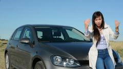 Young attractive helpfully woman shows gesture - come here - smile Stock Footage