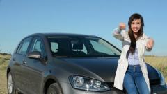 Young crazy attractive woman holds imaginary steering wheel and enjoys driving  Stock Footage