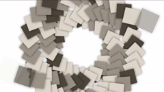 4k Spiral ladder stair tunnel background,block square card paper particle. Stock Footage