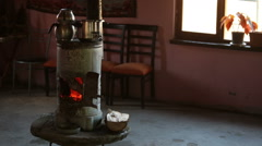 Stove is still being used in rural areas Stock Footage