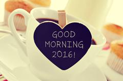 cup of coffee and the text good morning 2016 - stock photo
