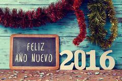 Text feliz ano nuevo 2016, happy new year 2016 in spanish Kuvituskuvat
