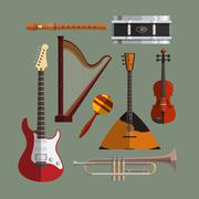 Musical instruments collection. Music icon vector set. Flat design illustration Piirros