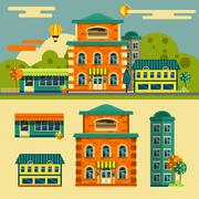 Buildings vector set. Small town street landscape in flat style. Design elements Piirros