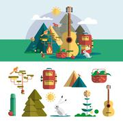 Camping outdoor design elements in flat style. Hiking travel concept with icons - stock illustration