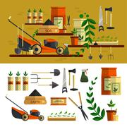Gardening tools illustration. Vector icon set flat design. Work in garden - stock illustration