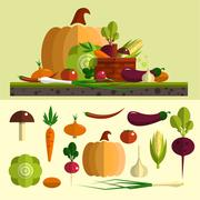 Stock Illustration of Vegetables icons vector set in flat style. Isolated design elements. Healthy