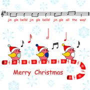 Merry christmas card,said the jingle bells song birds Stock Illustration
