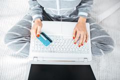 Creative concept for online shopping Stock Photos