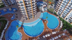 Territory of residential complex Azura Park with pool and playgrounds Stock Footage