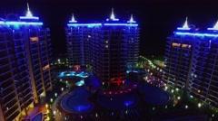 Colourful illumination on edifices of Azura Park hotel Stock Footage