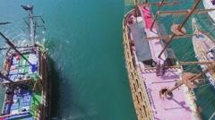 Touristic vessels on moorage in Alania Sea Port Stock Footage