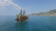 Touristic vessel BABA-A sails near coastal city at summer sunny day Stock Footage