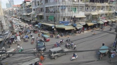 Stock Video Footage of Busy chaotic intercection ,Phnom Penh,Cambodia